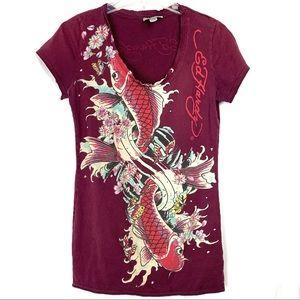 Ed Hardy koi fish t-shirt, size medium
